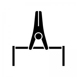 体操競技・鉄棒の白黒シルエットイラスト