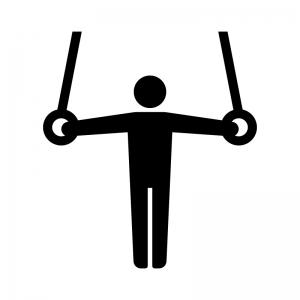 体操競技・吊り輪の白黒シルエットイラスト
