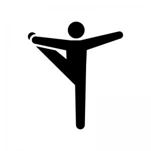 体操競技・床運動の白黒シルエットイラスト