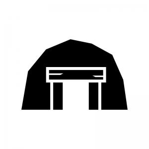 炭鉱・鉱山の白黒シルエットイラスト03