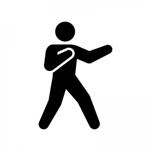 戦うポーズの白黒シルエットイラスト