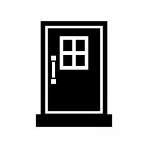 ドア・扉の白黒シルエットイラスト06