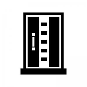 ドア・扉の白黒シルエットイラスト07