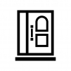 ドア・扉の白黒シルエットイラスト08