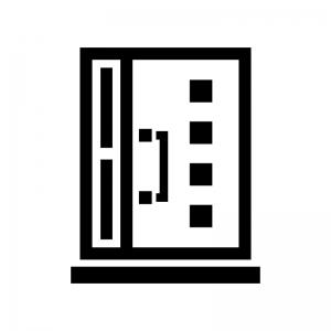 ドア・扉の白黒シルエットイラスト09