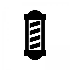 理容店・サインポールの白黒シルエットイラスト02