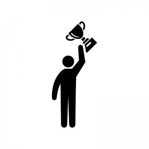 トロフィーを掲げる人の白黒シルエットイラスト
