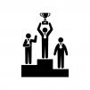 表彰台・トロフィーを掲げる人の白黒シルエットイラスト