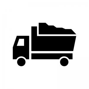 土砂を運ぶダンプカーの白黒シルエットイラスト