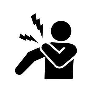 肩の痛み・肩こりの白黒シルエットイラスト