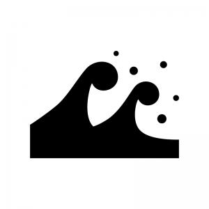 津波・高波の白黒シルエットイラスト02