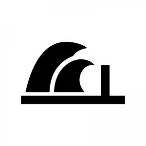 津波・高波の白黒シルエットイラスト03