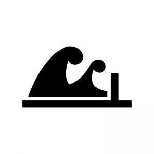 津波・高波の白黒シルエットイラスト04
