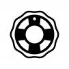 浮輪の白黒シルエットイラスト04