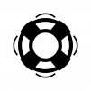 浮輪の白黒シルエットイラスト05