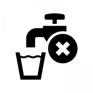 飲料不可の白黒シルエットイラスト