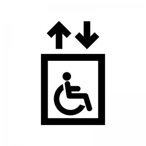 車椅子使用者用のエレベーターの白黒シルエットイラスト
