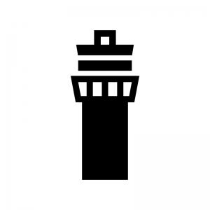 管制塔の白黒シルエットイラスト
