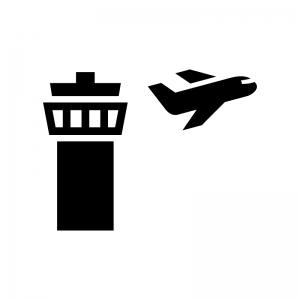 飛行機と管制塔の白黒シルエットイラスト