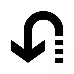 Uターンの白黒シルエットイラスト02