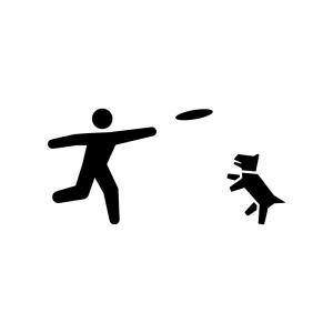 フリスビーで犬と遊ぶ白黒シルエットイラスト