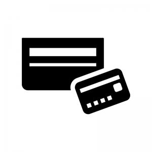 銀行通帳とカードの白黒シルエットイラスト