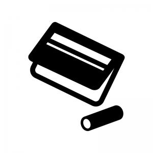 銀行通帳とハンコの白黒シルエットイラスト