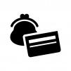 財布と通帳の白黒シルエットイラスト