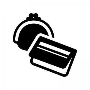 財布と通帳の白黒シルエットイラスト02