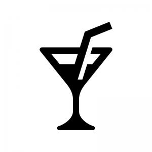 カクテルの白黒シルエットイラスト03