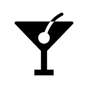 カクテルの白黒シルエットイラスト05