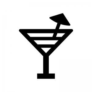 カクテルの白黒シルエットイラスト06