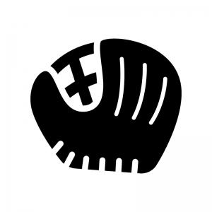 野球のグローブの白黒シルエットイラスト