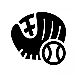 野球のグローブとボールの白黒シルエットイラスト