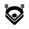 野球スタジアムの白黒シルエットイラスト04