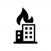 ビル火災の白黒シルエットイラスト
