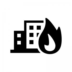 ビル火災の白黒シルエットイラスト02
