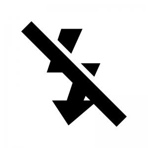 カメラのフラッシュ機能OFFの白黒シルエットイラスト