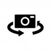 インカメラ切り替えの白黒シルエットイラスト