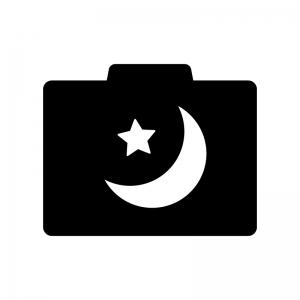 カメラの夜景モードの白黒シルエットイラスト