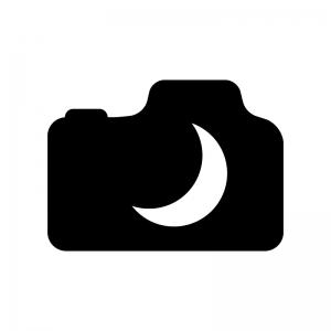カメラの夜景モードの白黒シルエットイラスト02