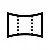 カメラのパノラマ撮影の白黒シルエットイラスト