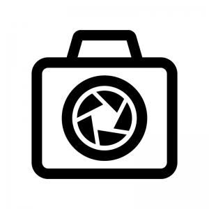 カメラの絞りの白黒シルエットイラスト