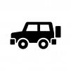 4WDタイプの車の白黒シルエットイラスト