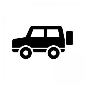 4WDタイプの車の白黒シルエットイラスト02