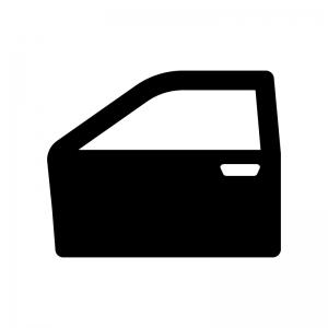 自動車のドアの白黒シルエットイラスト