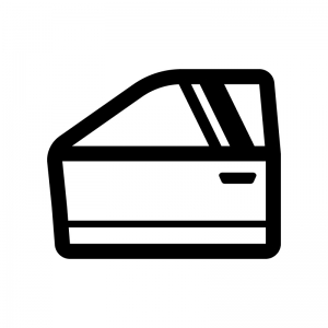 自動車のドアの白黒シルエットイラスト02