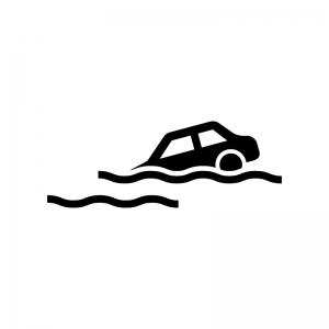 車の冠水の白黒シルエットイラスト