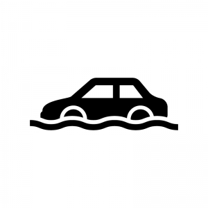 車の冠水の白黒シルエットイラスト02