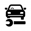 車の整備・メンテナンスの白黒シルエットイラスト